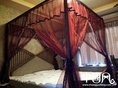 中式木床复古床幔蚊系带式帘头