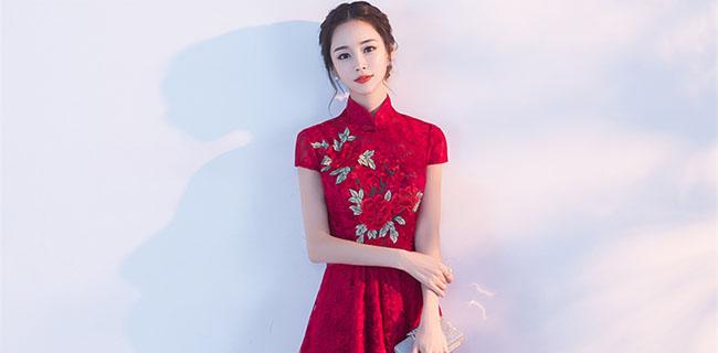 夏季酒红色立领旗袍中式结婚礼