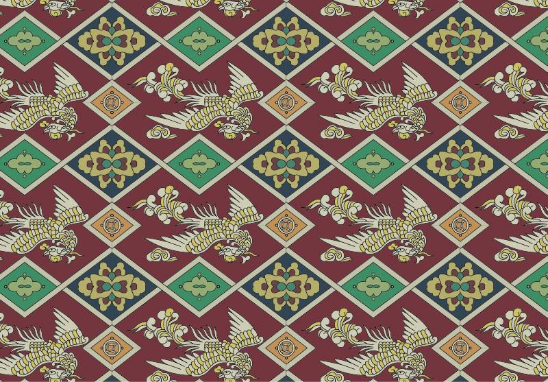 中国传统织锦凤凰图案与配色,矢