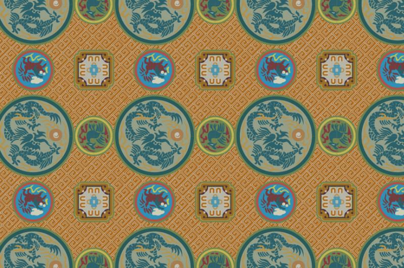 中国元素传统织锦图案与配色,矢