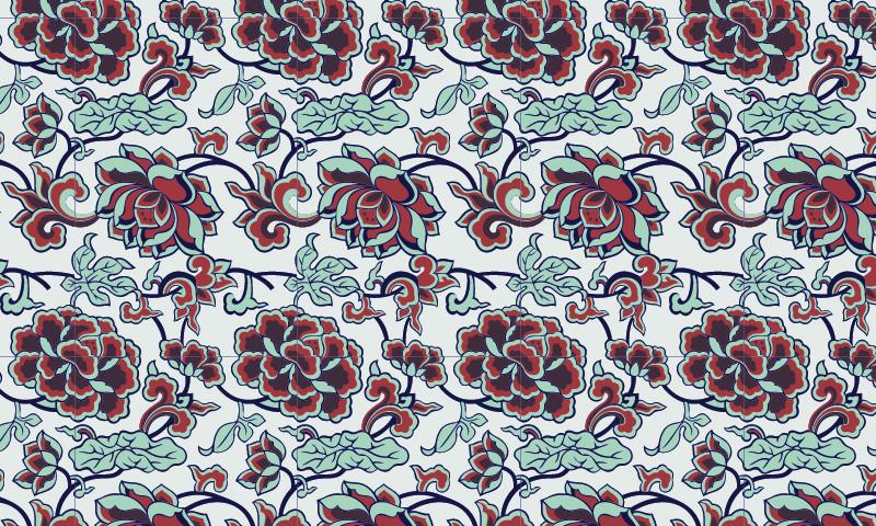 中国传统牡丹花卉图案与配色,矢