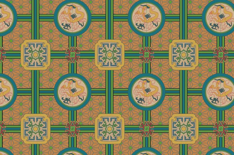 中国传统织锦复古图案与配色,矢