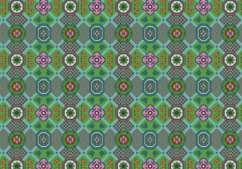 中国传统织锦花香图案与配色,矢