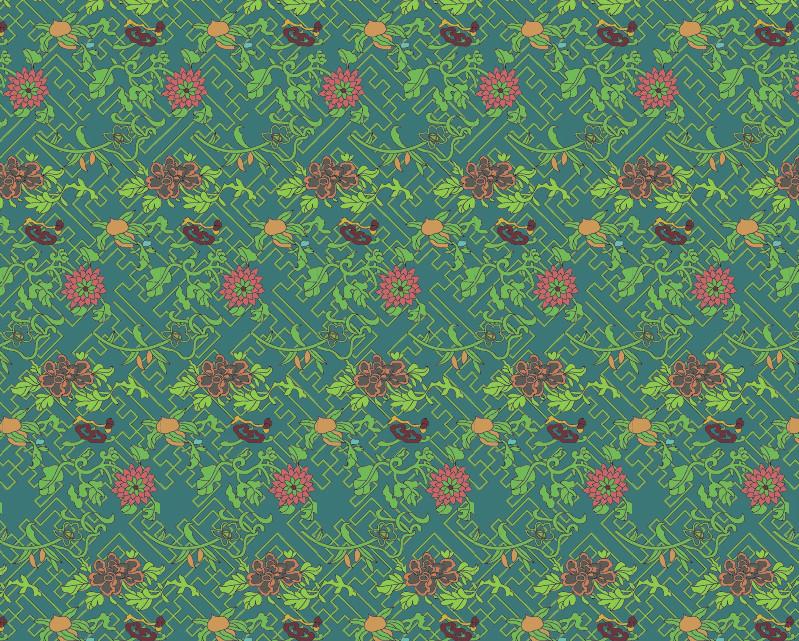 中国传统织锦植物图案与配色,矢