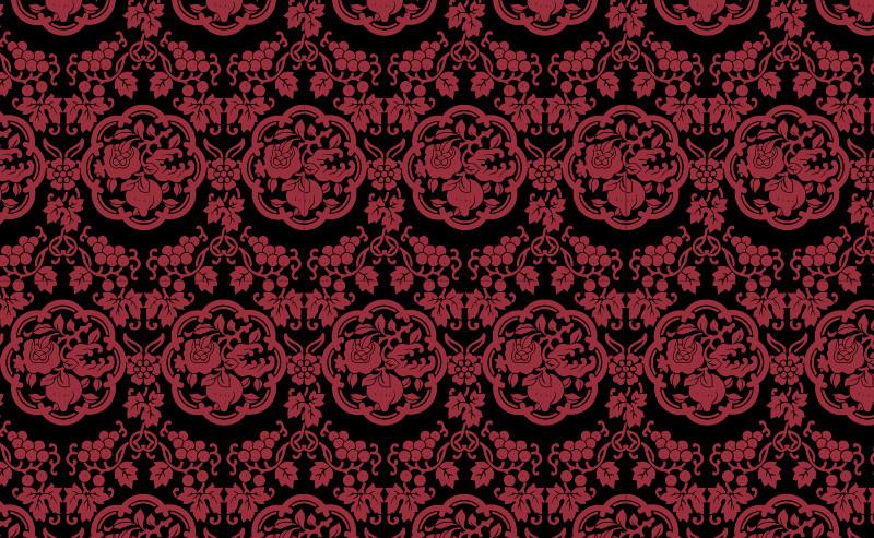 中国传统织锦八瓣花图案与配色,