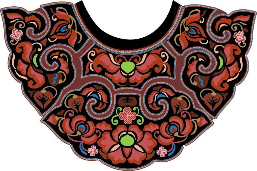 中国传统刺绣古典服装领口图案,