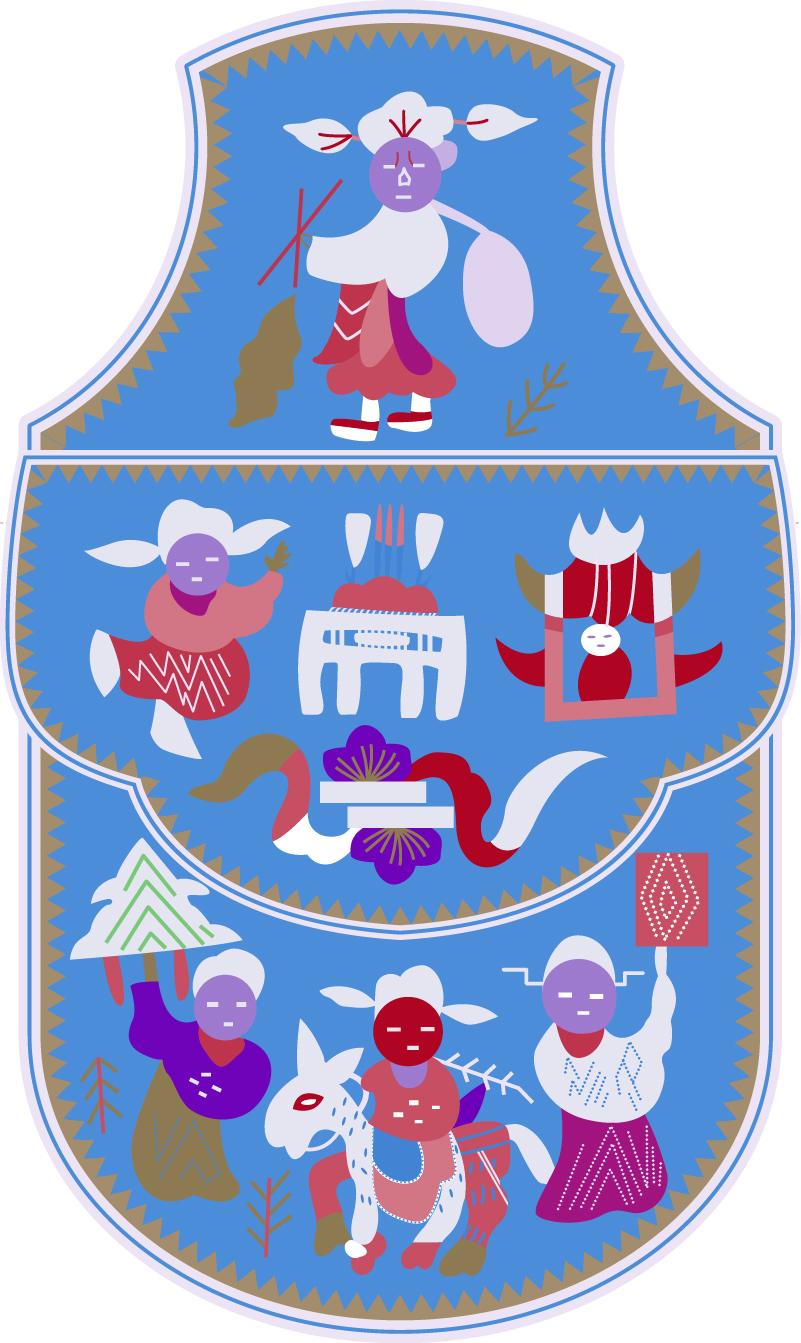 中国传统刺绣古典人物荷包图案,