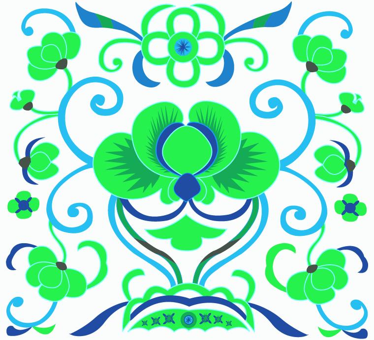 中国传统刺绣古典花纹图案,矢量