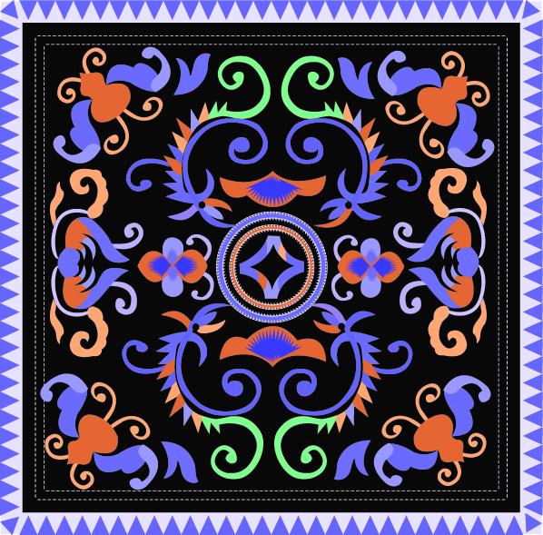 中国传统刺绣古典对称花纹图案,