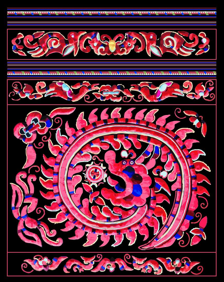 中国传统织物图案吉祥龙,矢量素