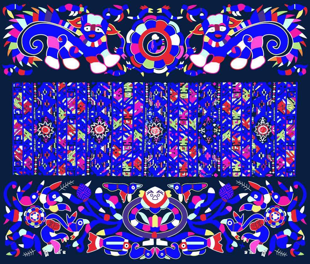 中国传统织物图案传统动物,矢量