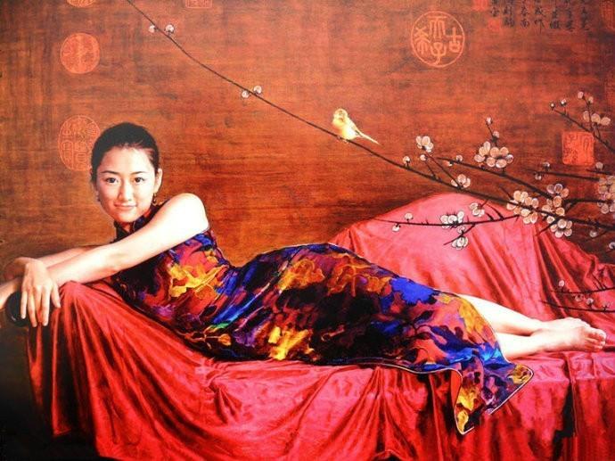 风情万种的油画旗袍女子