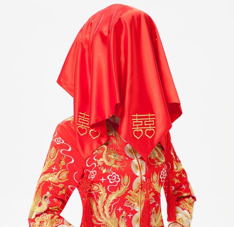 中式喜字流苏红色喜帕新娘结婚