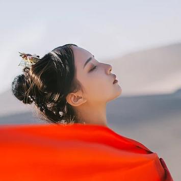 沙漠红衣女子头像,唯美古风真