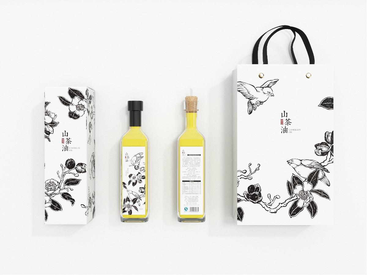 山茶油包装设计,手绘图案食品