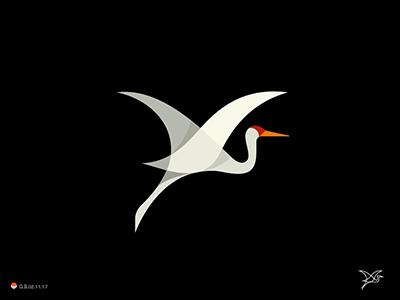 仙风道骨白鹤logo,精致典