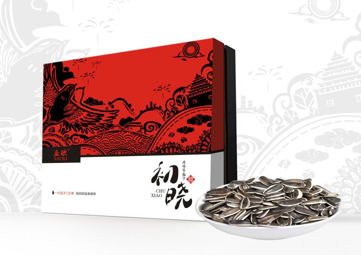 红色礼盒瓜子包装设计,古典特