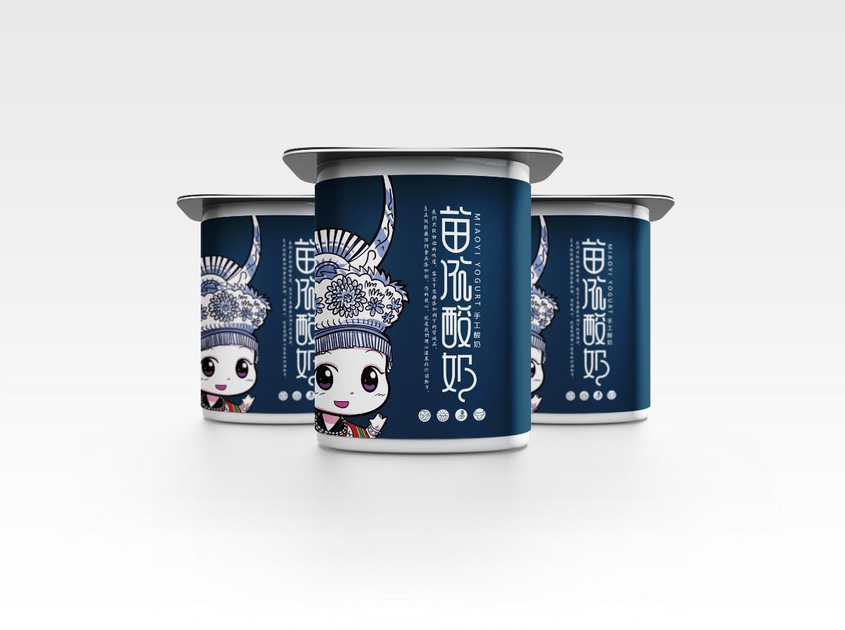 苗依酸奶食品包装设计,民族特