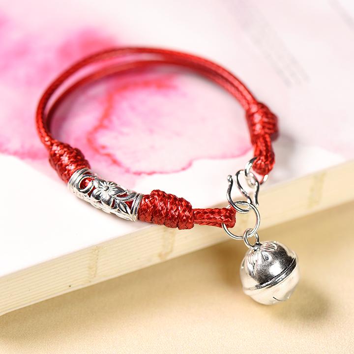 囍吉中国风手链,本命年红绳银