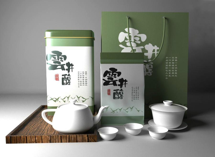 清新古朴茶叶包装设计,简洁大