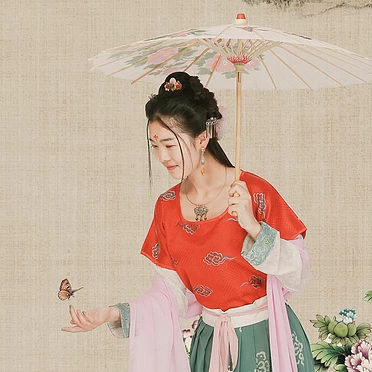 古典牡丹带伞团扇女生头像,唯
