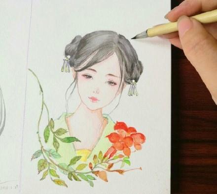 一组古风插画女子步骤图:画出