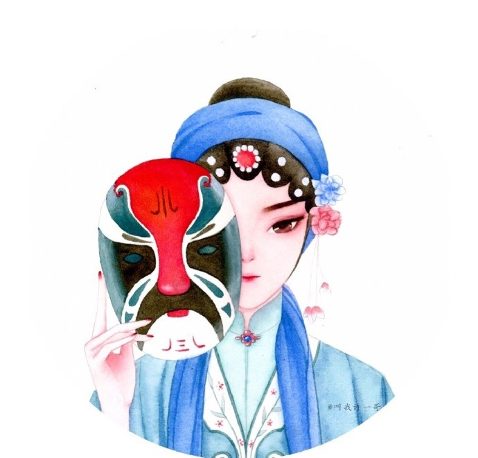 一组京剧花旦手绘水彩步