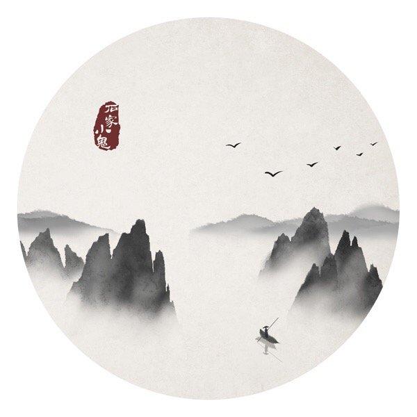 水墨中国风插画图片,水墨山水