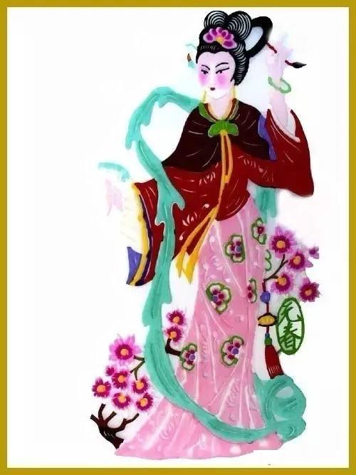 美女染色剪纸作品欣赏,色彩斑