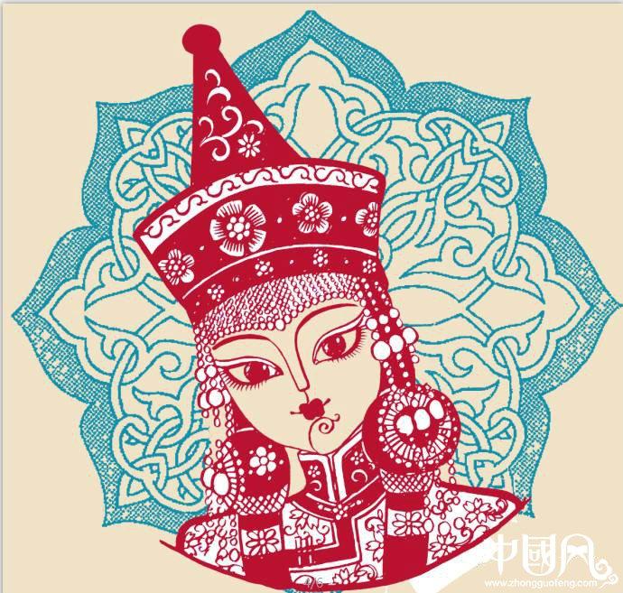 蒙古族美女剪纸,曹文峰剪纸作