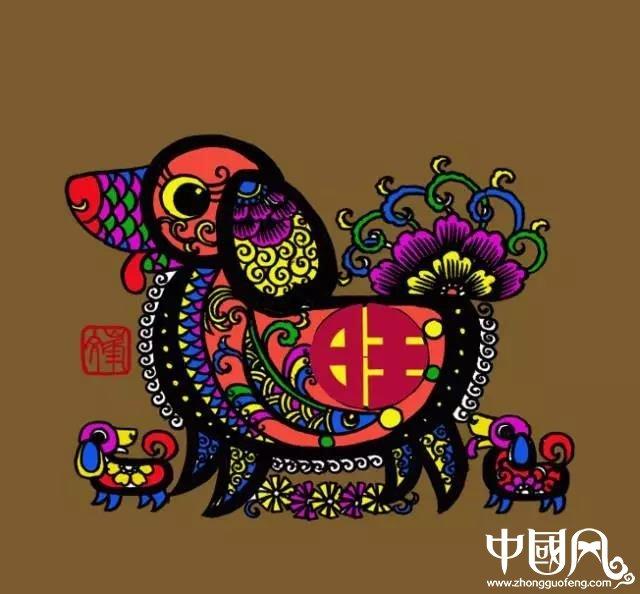 百狗图剪纸系列(32张),曹文峰剪