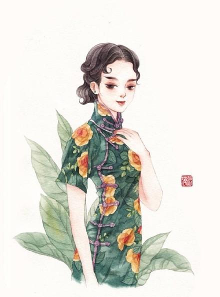清新水彩旗袍女子插画,唯美的