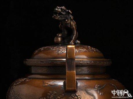 日本高冈铜器,福狮子香炉