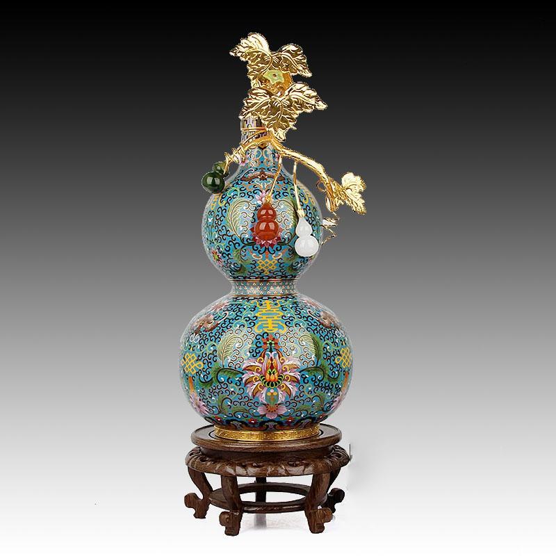 传统葫芦花瓶铜胎掐丝摆件