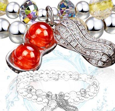 发晶银珠手链