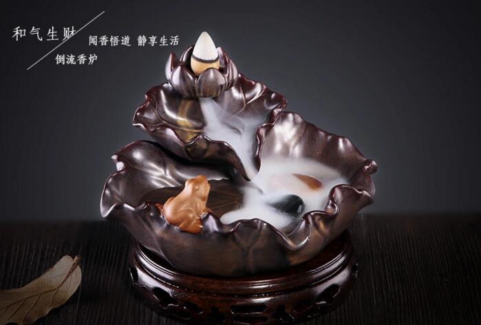 荷花陶瓷倒流香炉
