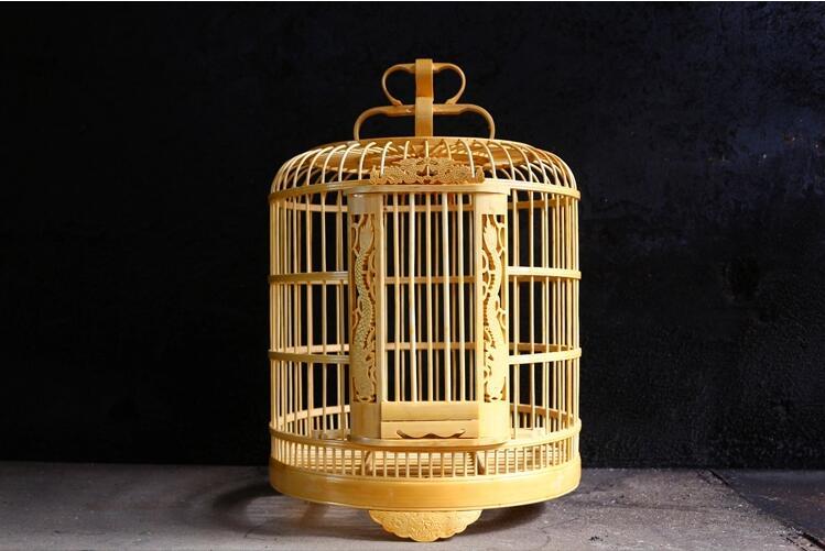 镂空雕刻龙竹制鸟笼