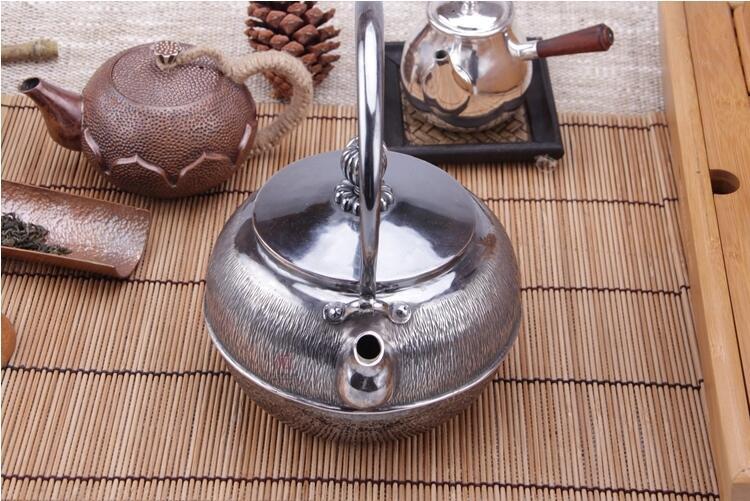 云南银壶中式手工99纯银烧水壶