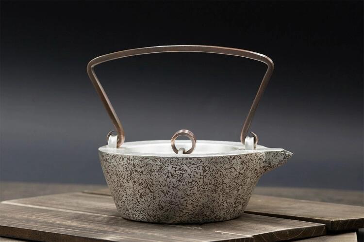 全手工木纹金木目金茶壶图片