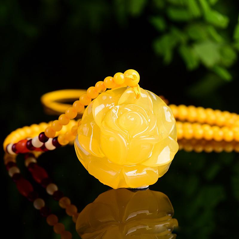 天然蜜蜡玫瑰花吊坠