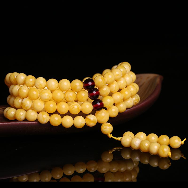 鸡油黄蜜蜡手串