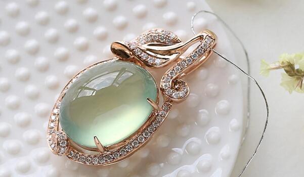 天然水晶,18K金葡萄石吊坠