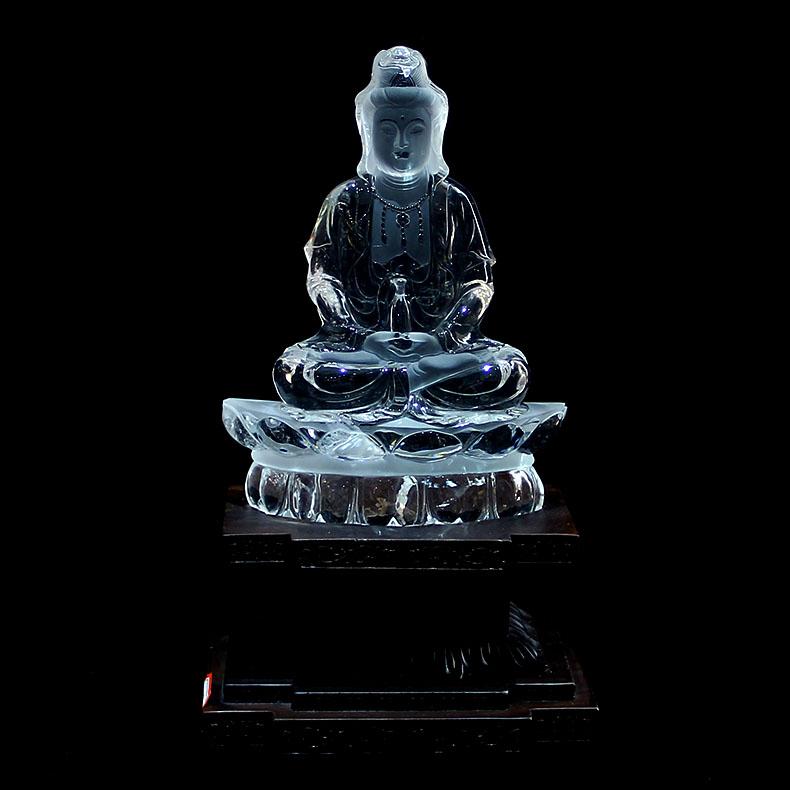 天然白水晶佛摆件,如何辨别天然水晶