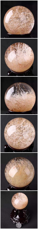 天然白发晶幽灵球摆件,天然水晶的功效与作用