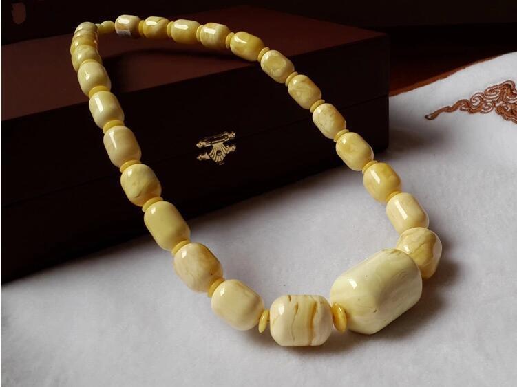 波罗的海天然琥珀白蜜蜡桶珠项链