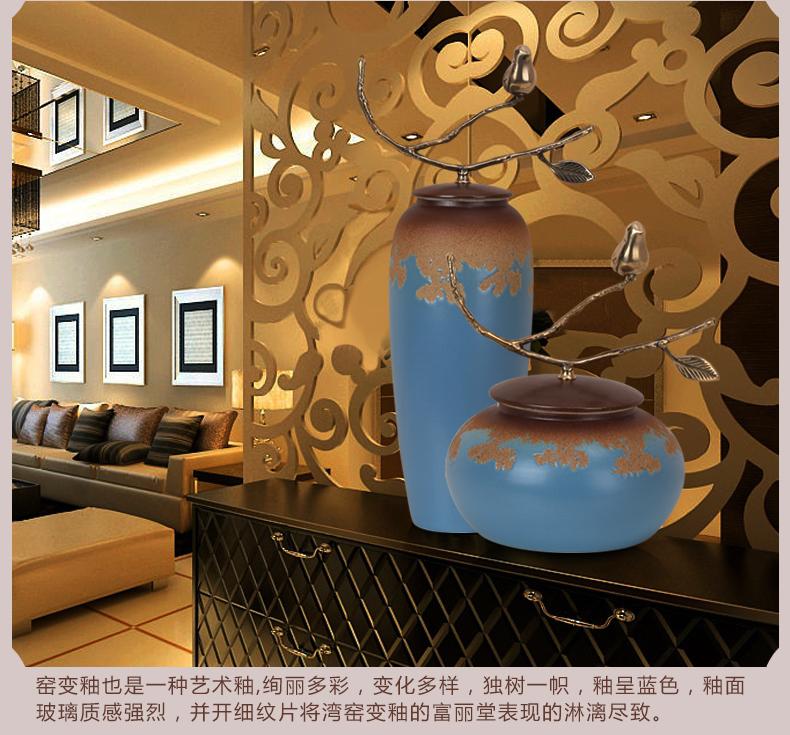 中式唐三彩客厅瓷器花插摆件
