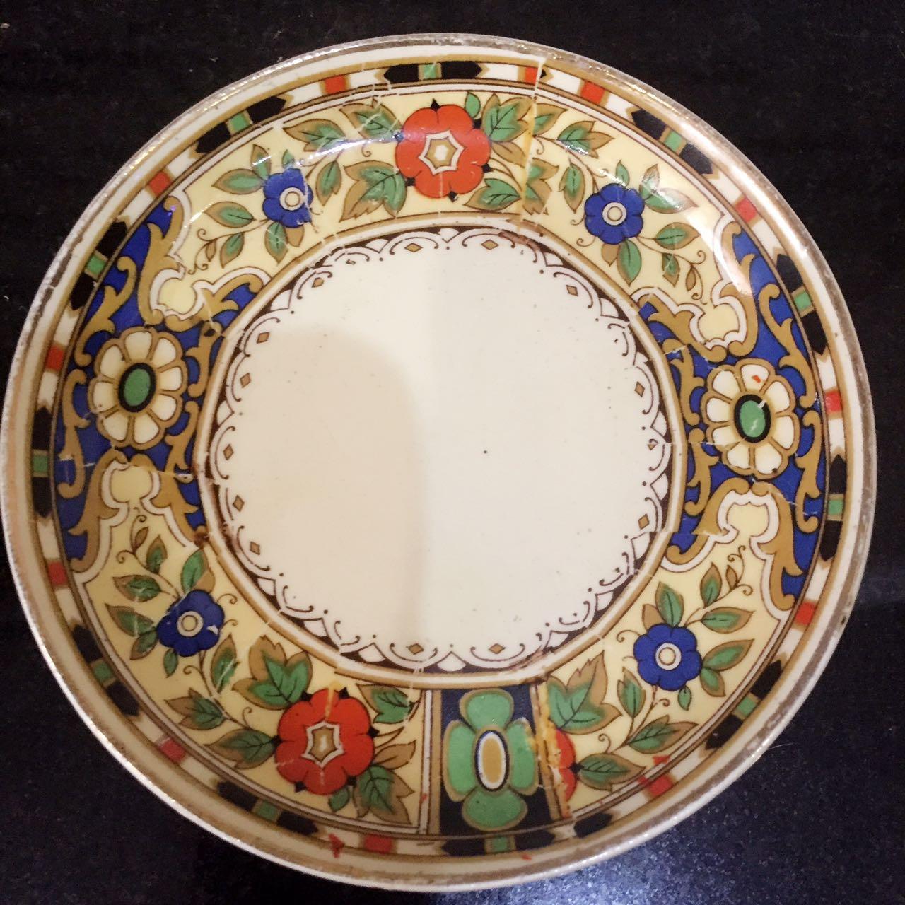 欧洲古董仿唐三彩花色碟