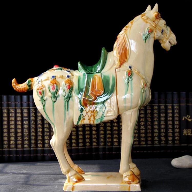 唐三彩马陶瓷马摆件