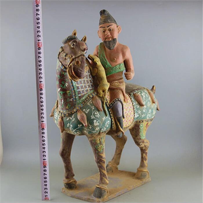 高仿唐三彩绘画马上人狩猎马雕像