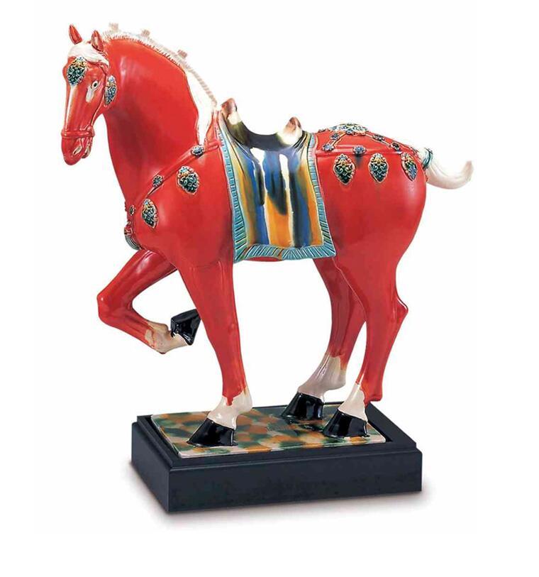 唐三彩陶瓷生肖红马摆件